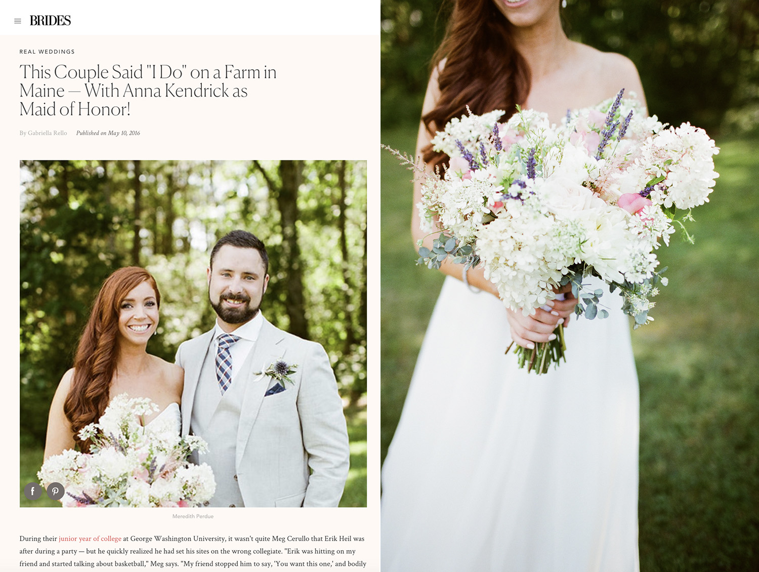 Michelle Peele in BRIDES magazine